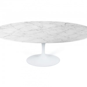 Tulip Oval Dining Table_White Carrera Marble